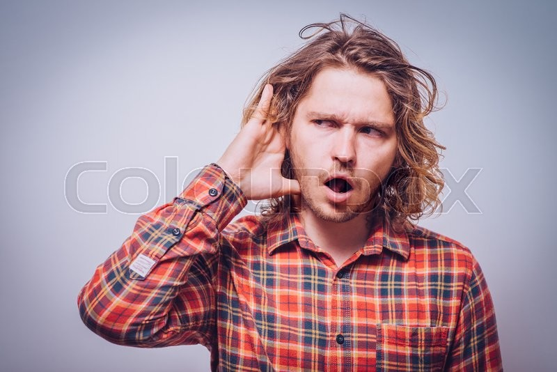 Stock image of 'Overhears a man, tries to listen.'