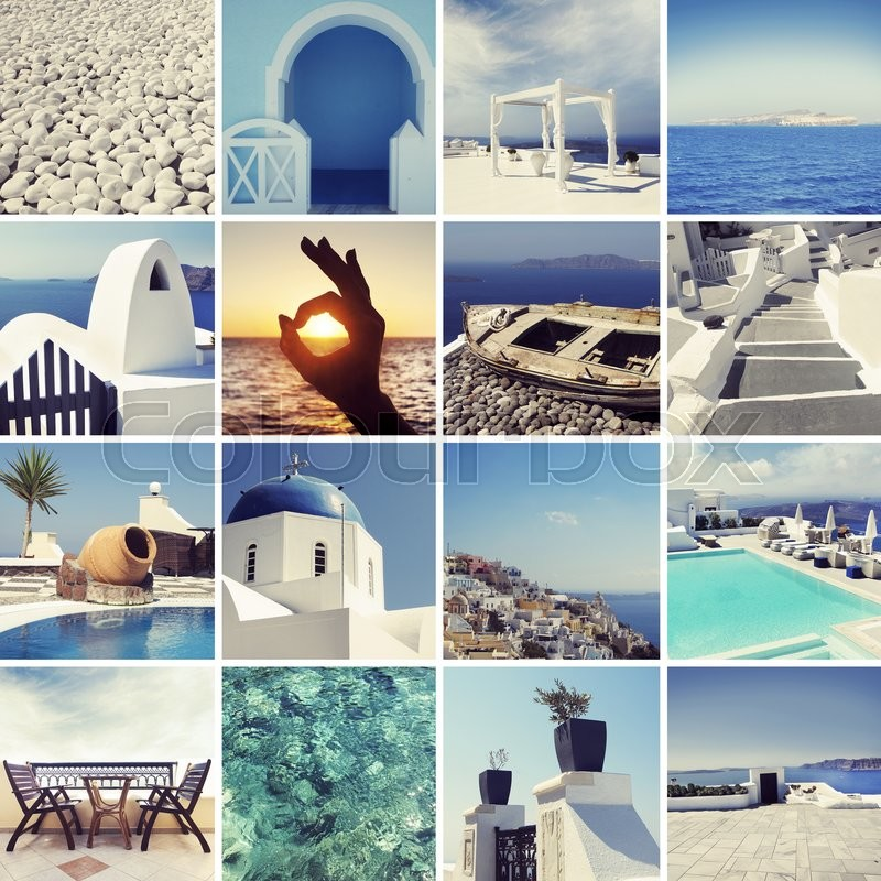Stock image of 'Collage of different Santorini photos. Resting and traveling on a Greece islands concept.'
