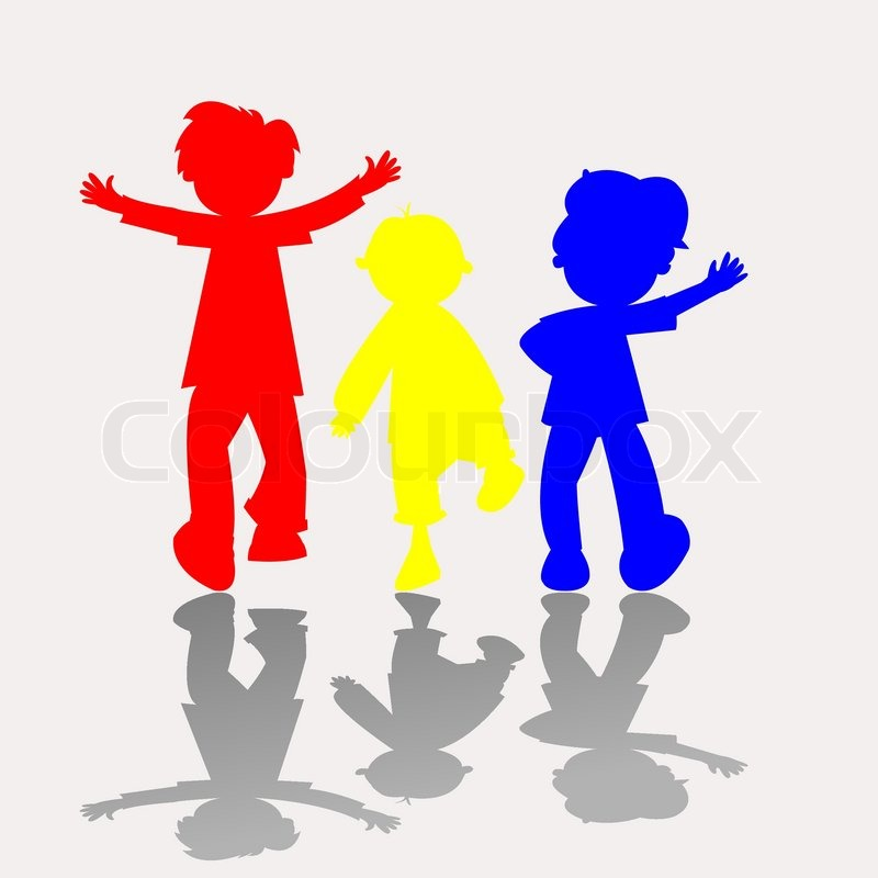 Colored kids silhouettes, vector art illustration | Stock Vector ...
