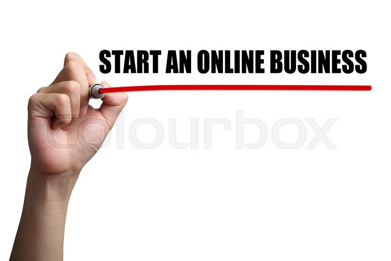 Stock image of 'Hand is drawing a red line under the text Start An Online Business on the transparent whiteboard.'