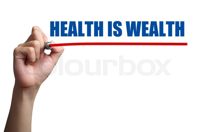 Stock image of 'Hand is drawing a red line under the text Health Is Wealth on the transparent whiteboard.'