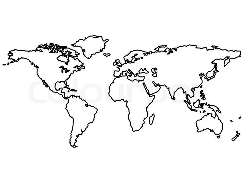 Printable black white outline map world colourboxblack world map outlines gumiabroncs Images