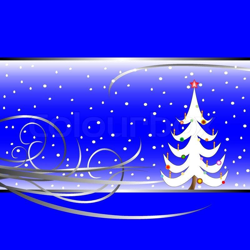 weihnachtsbaum karte auf blauem hintergrund vektor. Black Bedroom Furniture Sets. Home Design Ideas