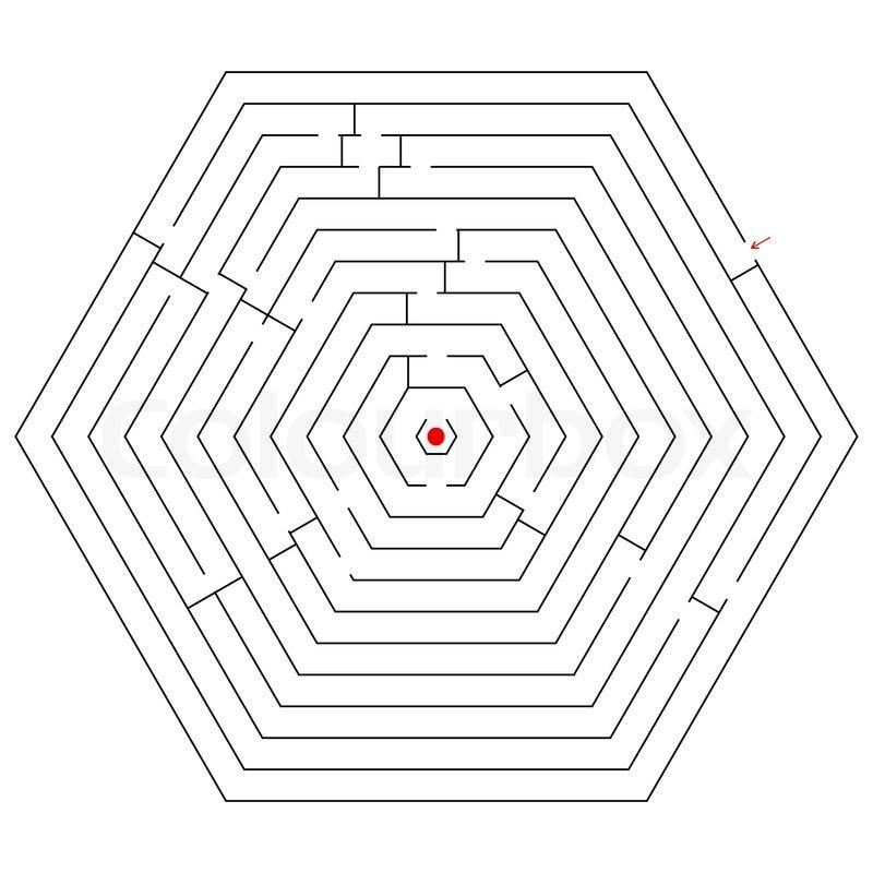 hexagonal black maze  abstract vector