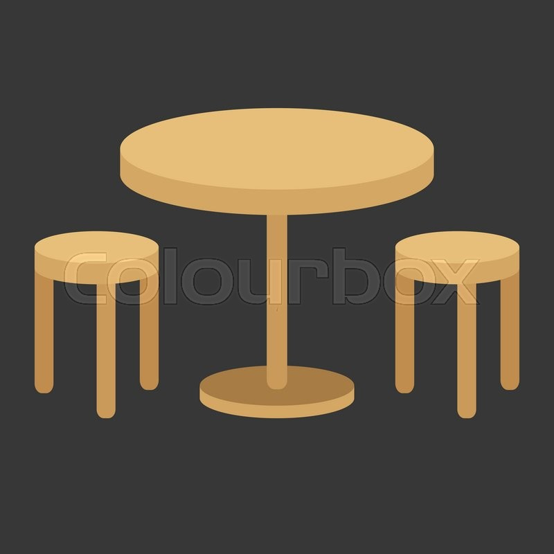 Vector table flat design no gradient stock vector for Table flat design