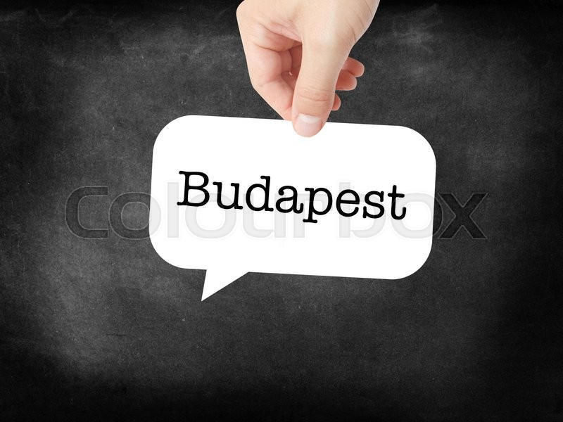 Stock image of 'Budapest - the city - written on a speechbubble'
