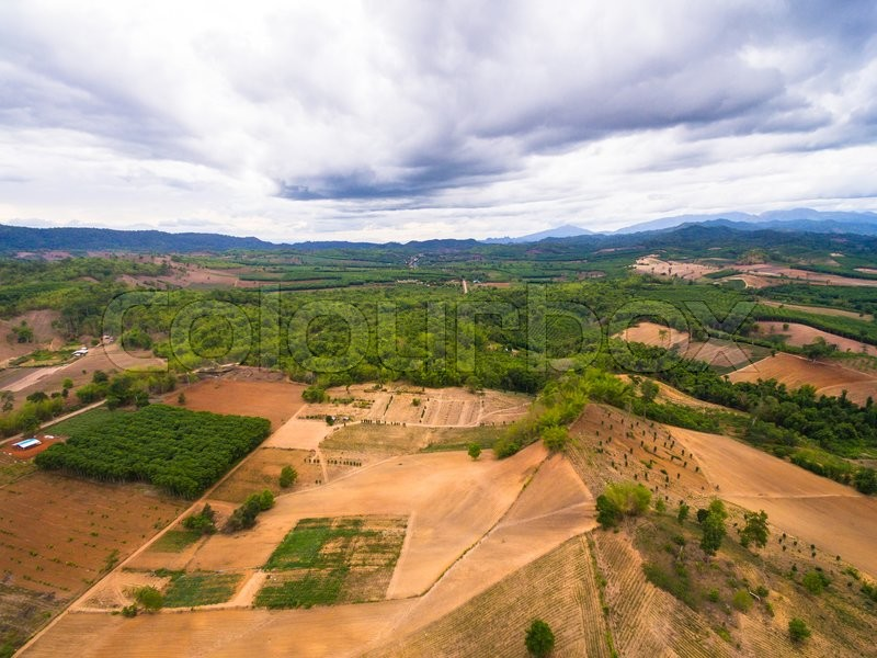 Stock image of 'Aerial view of agricultural area in countryside thailand'