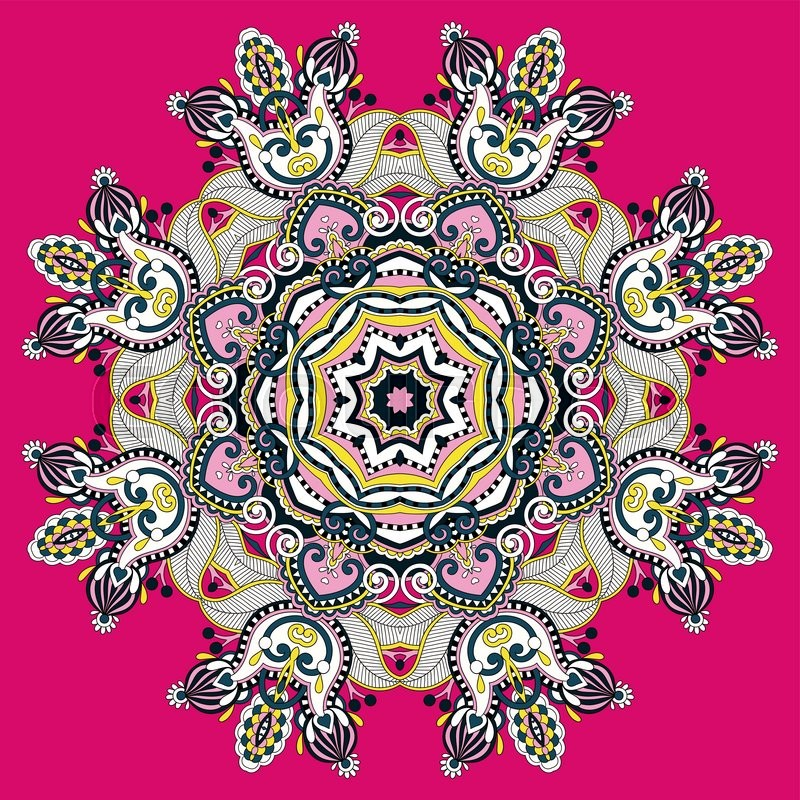 Mandala circle decorative spiritual indian symbol of lotus flower mandala circle decorative spiritual indian symbol of lotus flower round ornament pattern vector illustration vector mightylinksfo