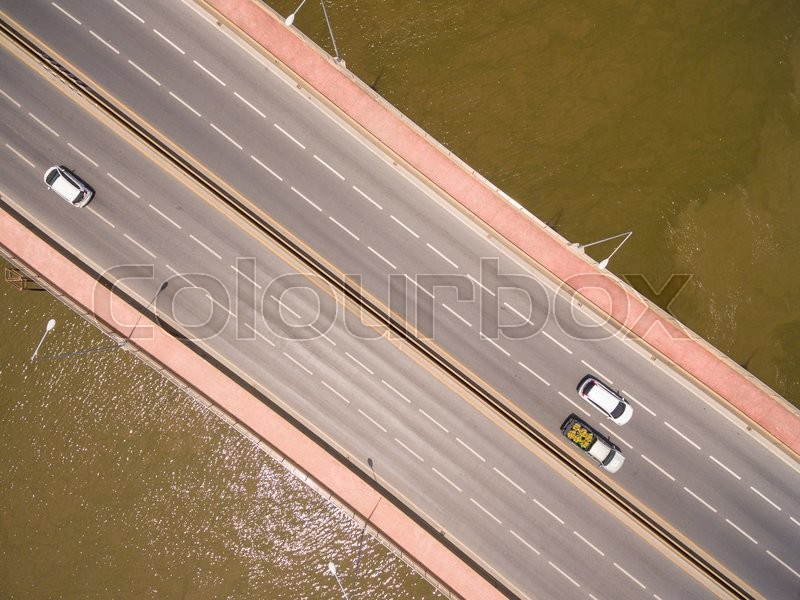 Stock image of 'Aerial view of the bridge over the river'