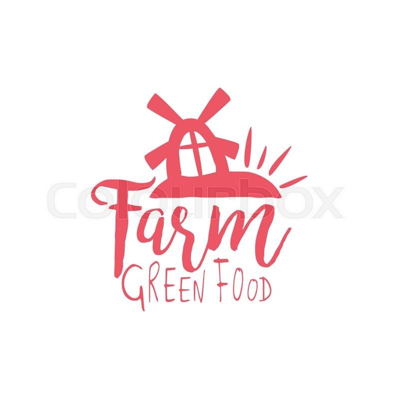 Hand Drawn Organic Food Label Set: Green Farm Vintage Emblem. Hand Drawn Cool Hipster Vector