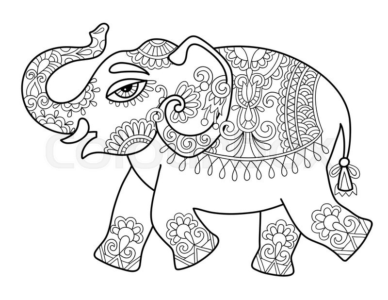 Ethnic Indian Elephant Line Original Drawing Adults Coloring Book Page Black And White Vector Illustration
