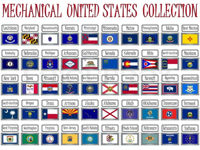 mechanical united states flags collection against white background