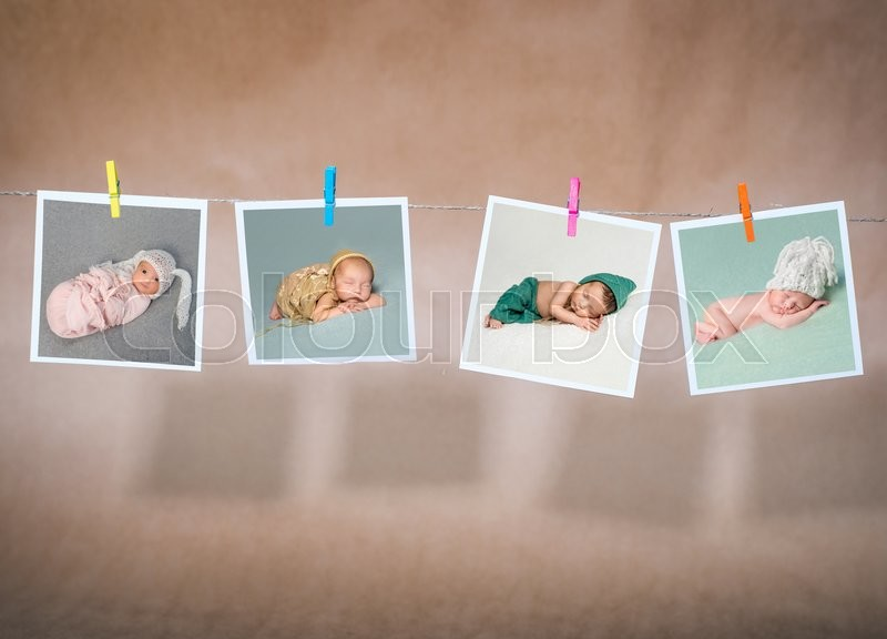 Stock image of 'cards hanging on the rope on kraft paper background'