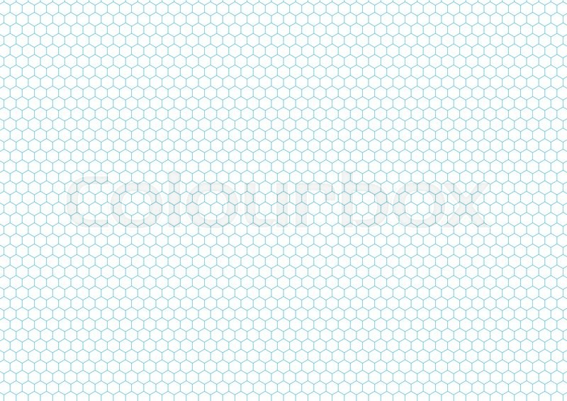 Cyan color hexagon grid on white, a4 size horizontal background ...