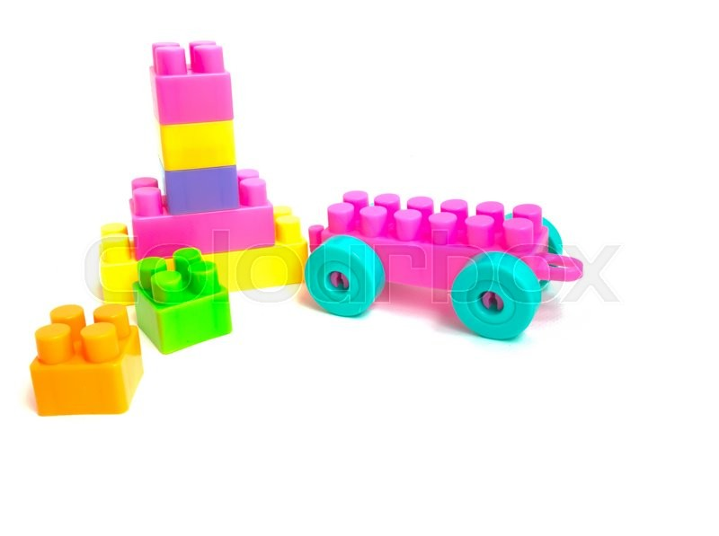 Stock image of 'Colorful rainbow Building plastic toy Blocks, Toys blocks, Children's toys isolated on a white background'