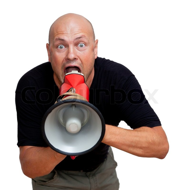 Funny bald man with megaphone. Isolated on white | Stock ...