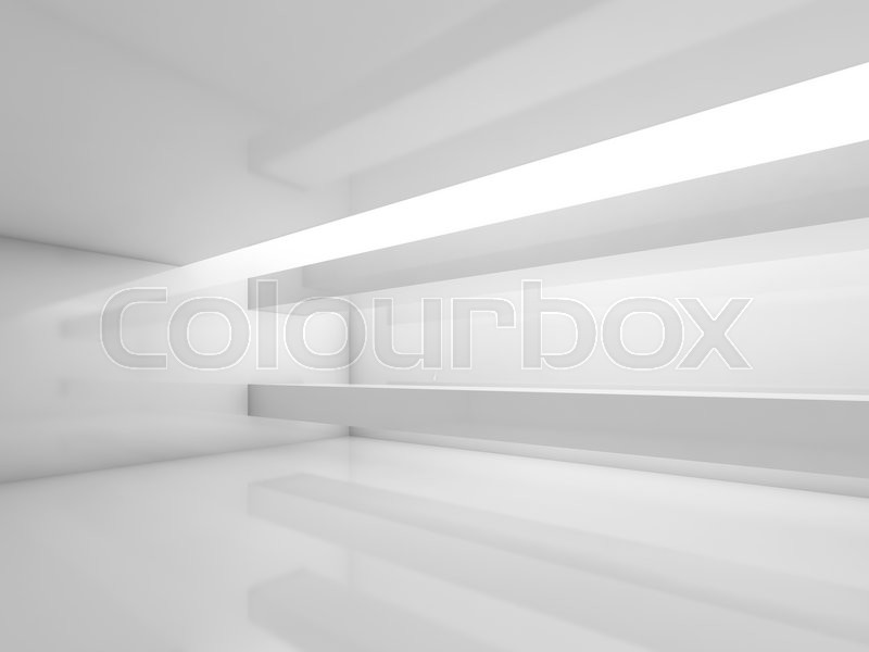 Stock image of 'Abstract white contemporary interior, empty room with soft illumination. Digital 3d illustration, computer graphic'