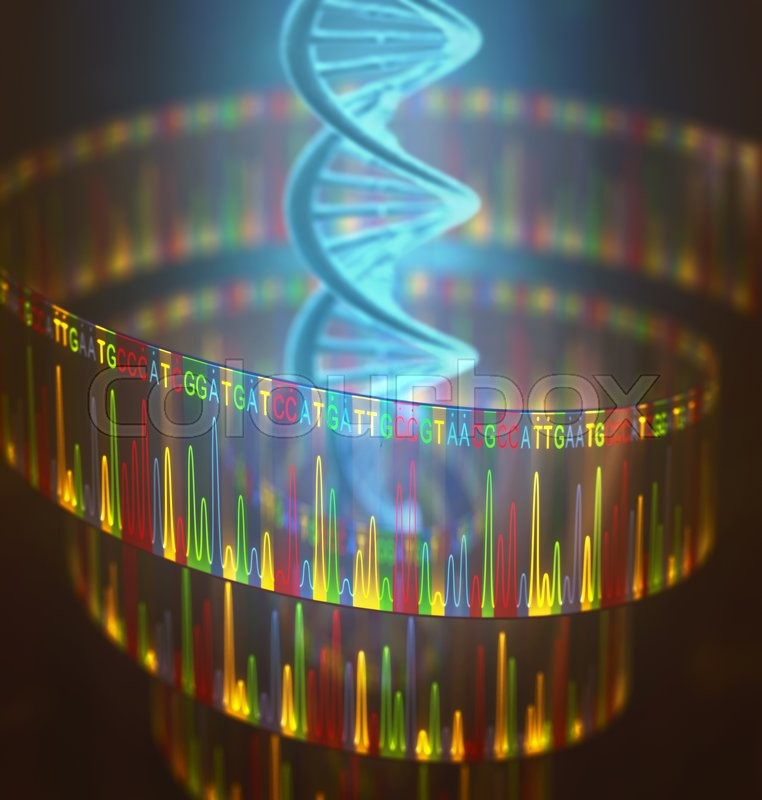 Stock image of '3D illustration of a method of DNA sequencing.'