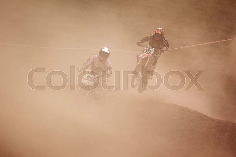Stock image of 'ALMATY, KAZAKHSTAN - APRIL 10,2011: Motocross competition'