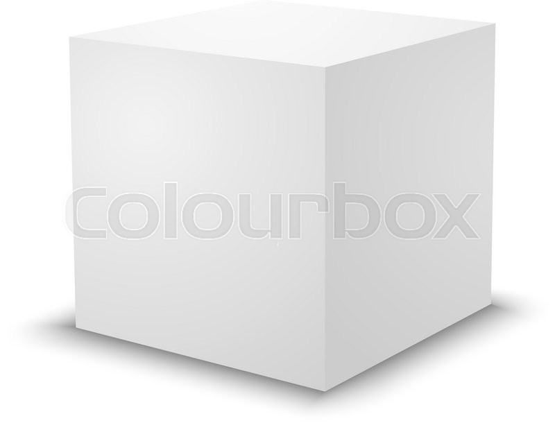 Blank White Cube On White Background 3d Box Template Stock