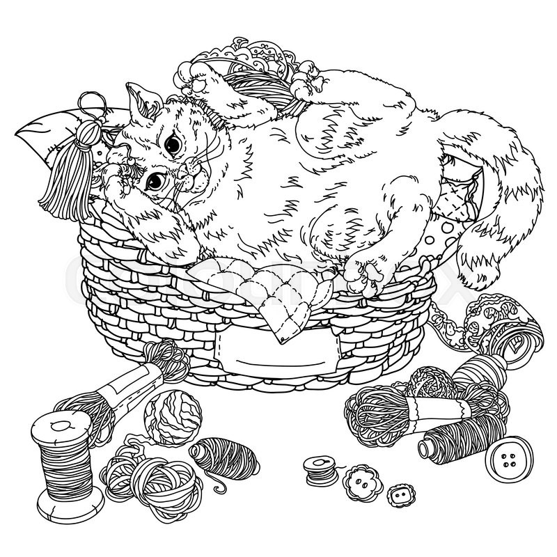 Uncolored Sketch Illustration In Coloring Book Style Of