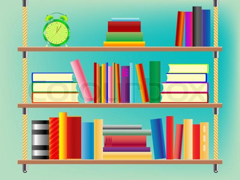 Suspended Bookshelf Abstract Art Illustration Stock