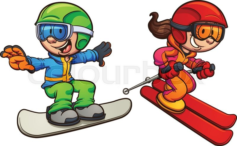 skiing and snowboarding kids vector clip art illustration with rh colourbox com snowboarding clipart png snowboard clipart