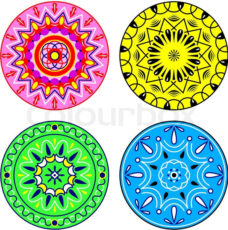 4 Colourful Circles With Simple Ornaments Vector Colourbox