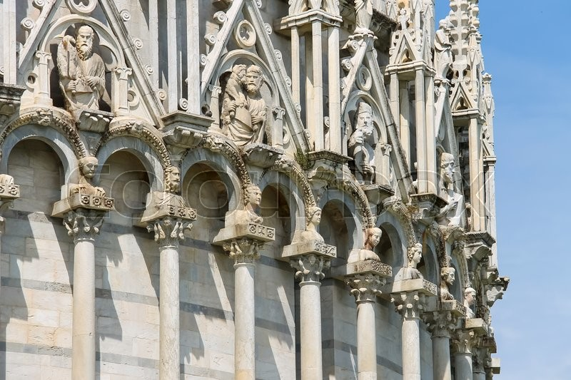 Stock image of 'Sculpture compositions of St. John Baptistery (Battistero di San Giovanni) in Pisa, Italy'