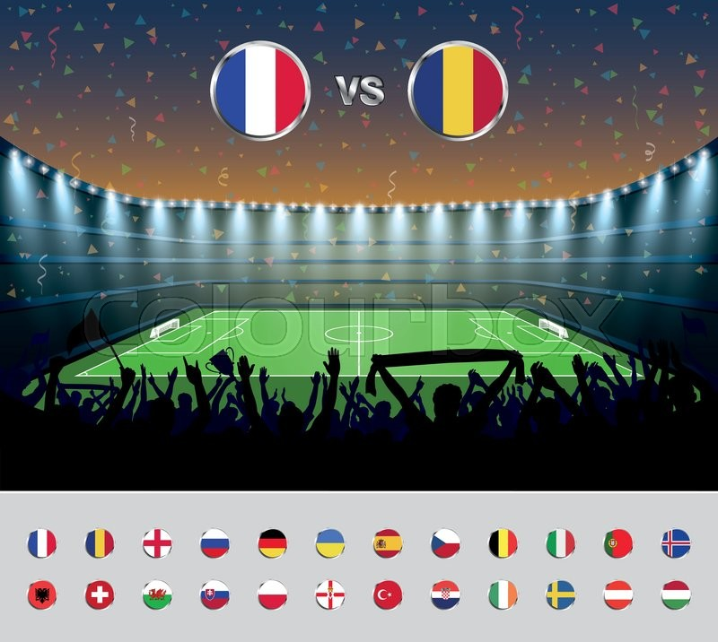 Soccer match France 2016 with excited crowd of people at a soccer stadium. Soccer arena. vector illustration, vector