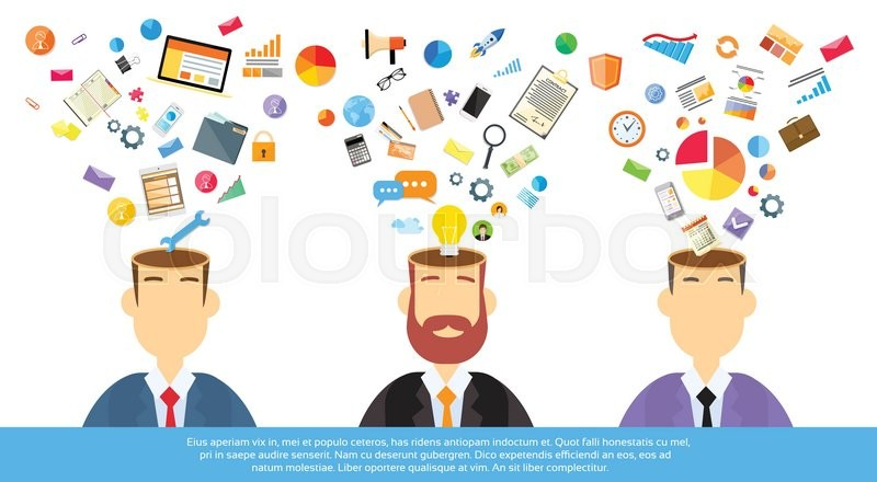 businessmen thinking business ideas inspiration open head