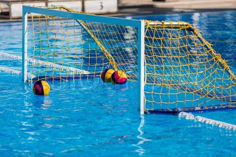 water polo goal gate in olympic swimming pool stock photo colourbox - Olympic Swimming Pool Background