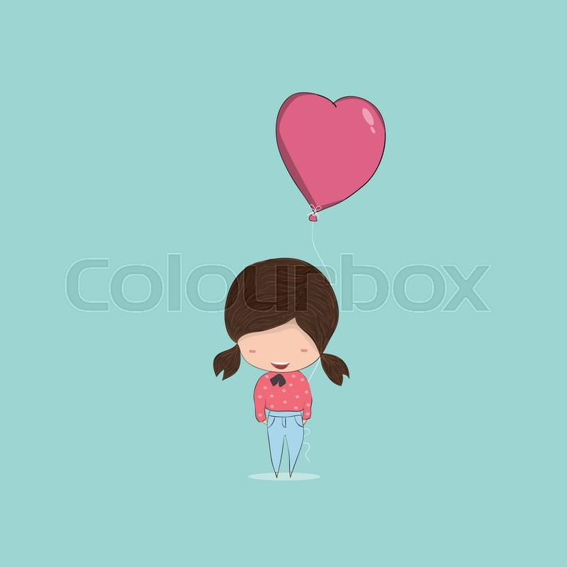 Girl With Heart Shaped Balloon Happy Birthday Drawing By Hand Vector