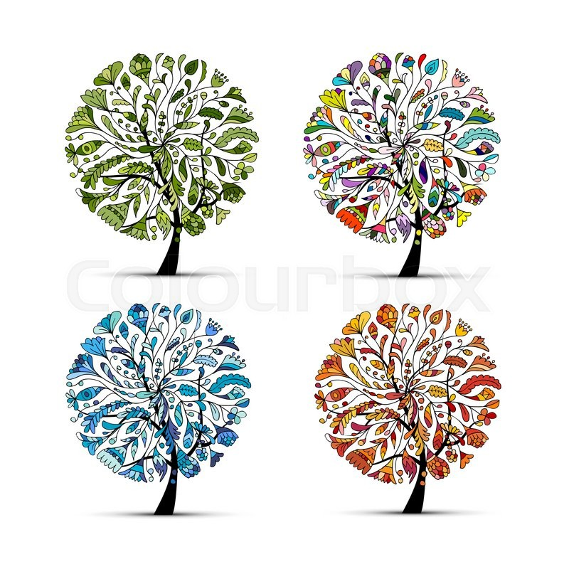 Four seasons spring summer autumn winter art tree for 4 seasons decoration