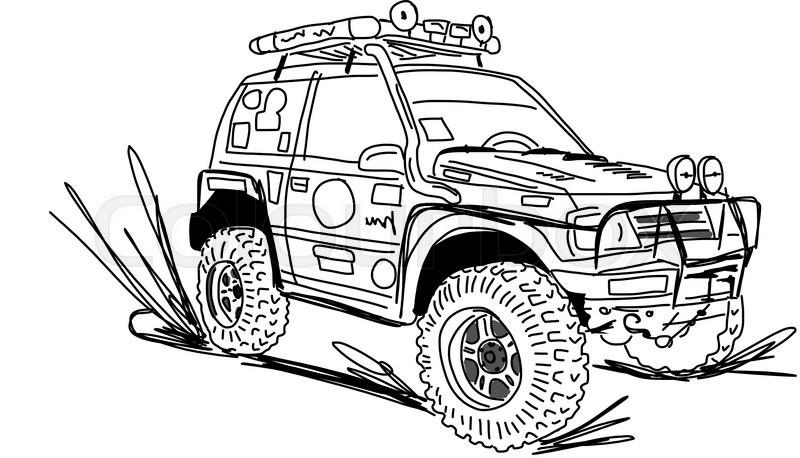 tuned suv car sketch   design vector illustration stock vector colourbox