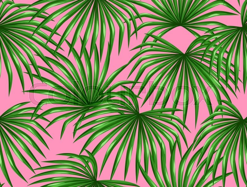 Seamless Pattern With Palms Leaves Decorative Image