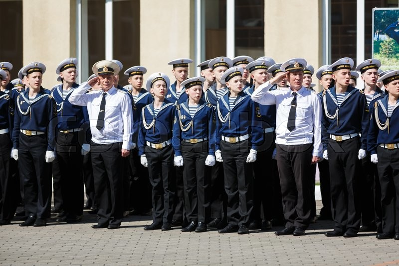 Editorial image of 'Kaliningrad, Russia - May 25 2016: The military ceremony at the school Sea Cadet Corps of Andrew Pervozvanniy'