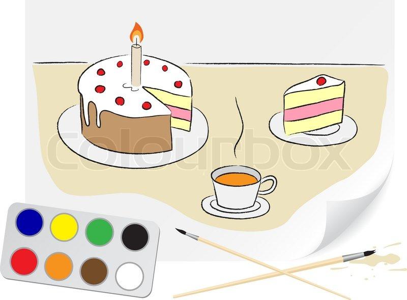 kinder zeichnung einer geburtstagstorte einem pinsel malt auf papier vektorgrafik colourbox. Black Bedroom Furniture Sets. Home Design Ideas