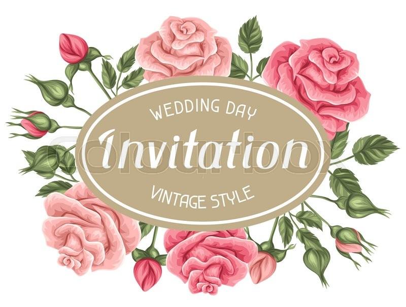 Invitation card with vintage roses. Decorative retro flowers. Image ...