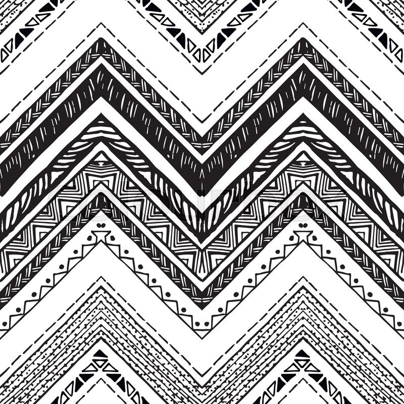 Hand Drawn Tribal Pattern Black And White Colors For Textile Wallpaper Wrapping Paper Ethnic Theme Vector