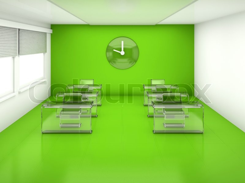 Empty fantastischen klassenzimmer innenraum mit tischen for Stuhl design unterricht