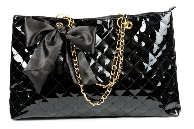 Sorte blank kvinders håndtaske isoleret | Stock foto