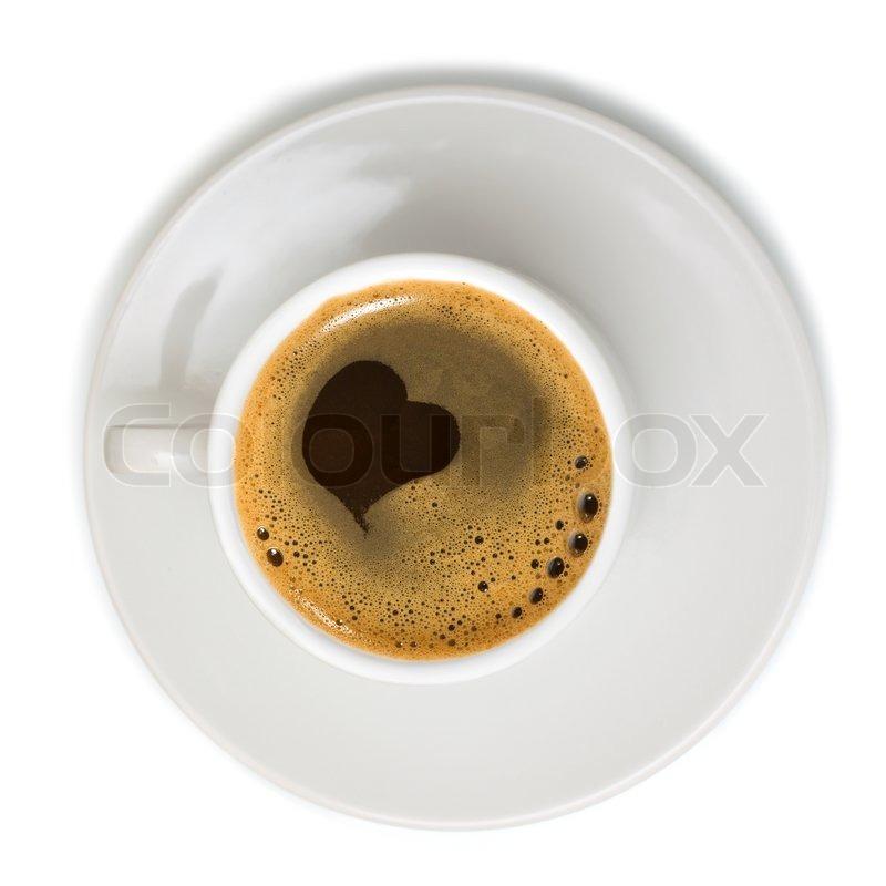 kaffeetasse mit herz symbol auf wei em hintergrund stock foto colourbox. Black Bedroom Furniture Sets. Home Design Ideas