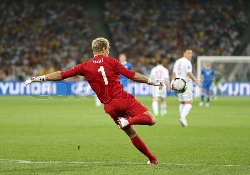 Editorial image of 'KYIV, UKRAINE - JULY 1, 2012: Goalkeeper Joe Hart of England in action during UEFA EURO 2012 Quarter-final game against Italy at Olympic stadium in Kyiv, Ukraine'