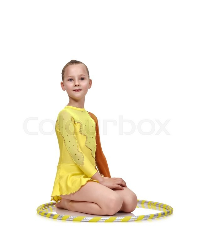 Stock image of 'young girl-gymnast with hula hoop isolated on white'
