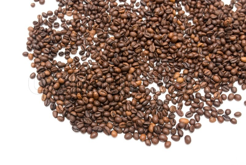 Stock image of 'Coffee beans on a white background'