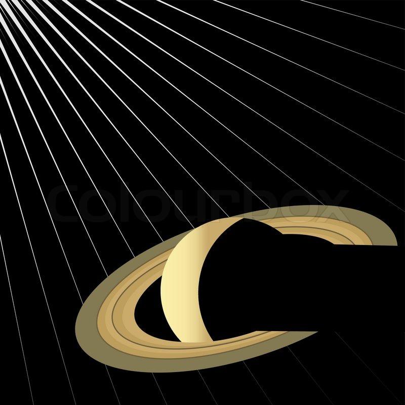 Saturn auf schwarzem Hintergrund mit Strahlen des Lichts ...