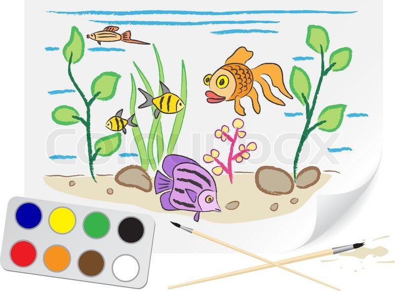 Kinder zeichnen das Aquarium eine Bürste Farben auf Papier ...