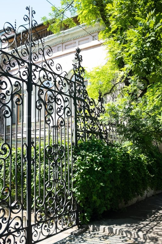 New wrought iron gates and the green trees and bushes, stock photo