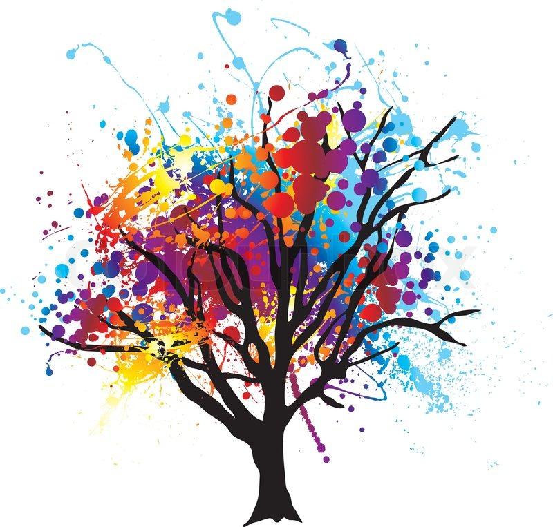 Modern Abstrakten Baum Mit Farbe Splat Bltter Oder
